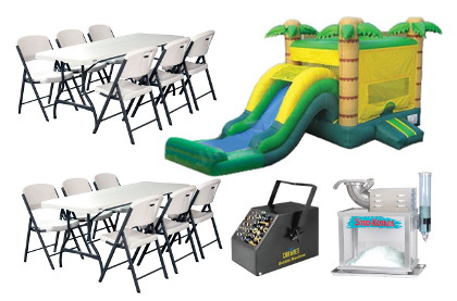 Combo Party Package - combo bouncer, bubble machine, concession machine, 2 tableds, 12 chairs